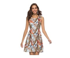 Tidebuy Sleeveless Print Pullover Womens A-Line Dress