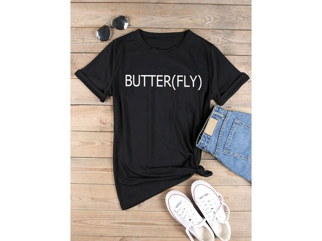 BUTTER(FLY)Letter Print T-shirt Tops | free-classifieds-usa.com