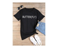 BUTTER(FLY)Letter Print T-shirt Tops