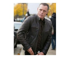 Jason Beghe Chicago P.D. Dark Brown Real Sheep Skin Leather Jacket