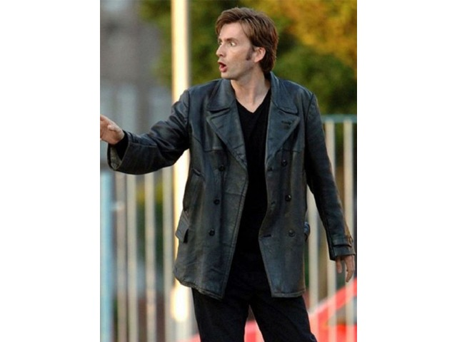 David Tennant Doctor Who Black Real Cowhide Leather Coat | free-classifieds-usa.com