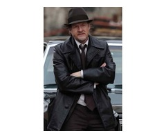 Donal Logue Gotham Black Real Cowhide Leather Coat