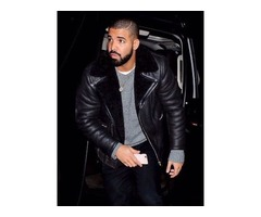 Drake Black Real Cowhide Leather Jacket