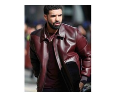Drake Maroon Real Cowhide Leather Jacket