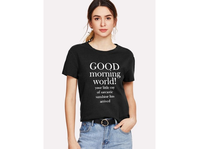 GOOD MORNING WORLD Letter Print T-shirt Casual Tops | free-classifieds-usa.com