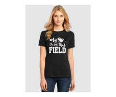 My Heart Is On That Field Letter Print Graphic T-shirt Tops