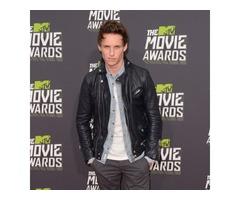 Eddie Redmayne MTV Movie Awards Black Real Sheep Skin Leather Jacket