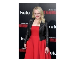 Elisabeth Moss Black Real Cowhide Leather Jacket