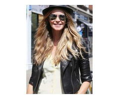 Elle Macpherson Black Real Sheep Skin Leather Jacket