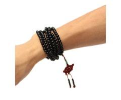 Trendy Black Sandalwood Buddhist Buddha Multilayer Beads Weaving Bracelet Necklace for Men
