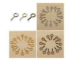100pcs Mini Eye Pins Eyepins Hooks Eyelets Screw Threaded Peg 8x3.5mm