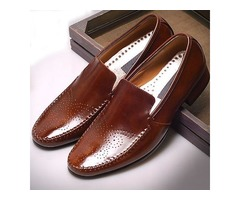 Brown Loafers Handmade Shoes Genuine Leather