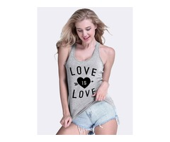 LOVE IS LOVE Letter Print Heart Graphic Beaches Tank Tops