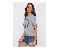 Moon Forest Letter Print Happy CAMPERT T-Shirt Tops