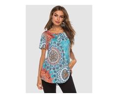Round Neck Button Design Scoop Hem Tribal Shirt Printed Blouse