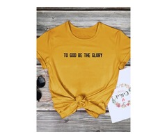 To God Be The Glory Letter Print T-shirts Tops
