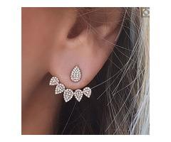 Fashion Alloy Imitation Diamond Back Stud Earrings