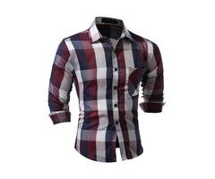 Plaid Chest Pocket Straight Mens Casual Shirt