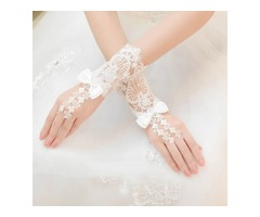 Pretty Lace Appliques Bowknot Fingerless Gloves