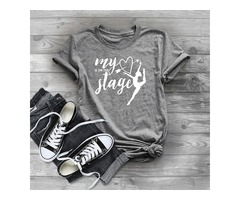 Short Sleeve Crew Neck Is On The Stage Letter Print Graphic Print Solid Color Tops T Shirt