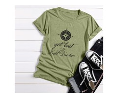 Short Sleeve Crew Neck Get Lost In The Right Direction Letter Print Solid Color Tops T Shirt