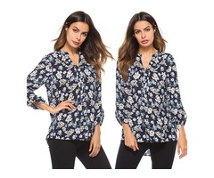 V Neck Button Front Long Sleeve Floral Printed Loose Top Blouse