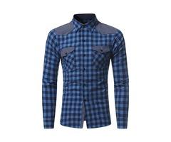 Lattice Lapel Single-Breasted Pockets Long Sleeve Slim Mens Casual Shirt