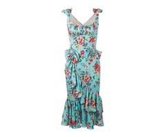 Petty Flowers Sleeveless V Neck Bodycon Dress