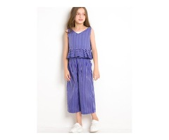 Stylish Sleeveless Stripe Pleated Top And Loose Fit With Pockets Girls Outfit