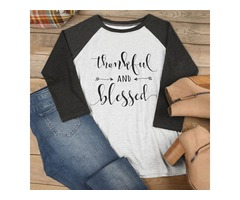 Colorblock Long Sleeve Thankful And Blessed Letter Print Round Neck Shirt Tops Blouse