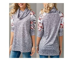 Cowl Neck Top Floral Print Tunic Pullover Sweatshirt