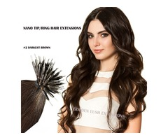 "#2 DARKEST BROWN NANO TIP/RING HAIR EXTENSIONS 50G LENGTH 16"" & 20"" STRAIGHT"