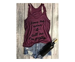 Summer Wine Red Letter Print Shirts Pour Me Wine Funny T-shirts Tank Top