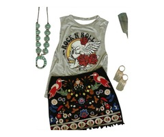 Women Skull Flower Print Shirt Rock And Roll Tees Back V Cut Out Lace Up Tank Top