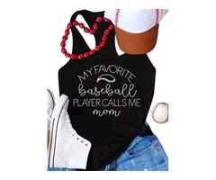 Baseball Mom Shirts Women Summer Black Tees Letter Print T-shirt