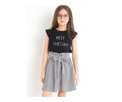 Fashion Solid Color T-Shirt And Stripe Botton Bowknot Skirt Girls Outfit