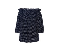 Slash Neck Polka Dots Womens Blouse