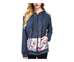 Floral Print Stitching Drawstring Casual Zipper Hoodie Tops