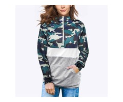 Camouflage Stitching Color Block Zip Front Pocket Hoodies