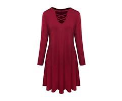 Criss Cross Front Side Pockets A-line Mini Dress Dresses