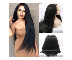 Yaki straight synthetic hair lace front wig free part actural picture cheap wigs for women perucas b