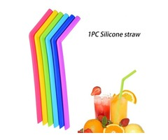 Silicone Straw Reusable Silicone Flexible Bend Smoothies Straws Drinks shop Kitchen Environment-frie