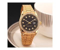 relogio masculino mens watches Luxury dress designer fashion Black Dial Calendar gold Bracelet Foldi