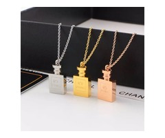 famous brand jewerly 316L titanium Steel 18K rose gold plated necklace short chain silver necklace p