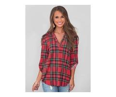 Plaid Roll up Sleeve High-Low Hem Shirts Blouse Tops