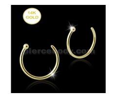 14K Gold Open Hoop Nose Ring