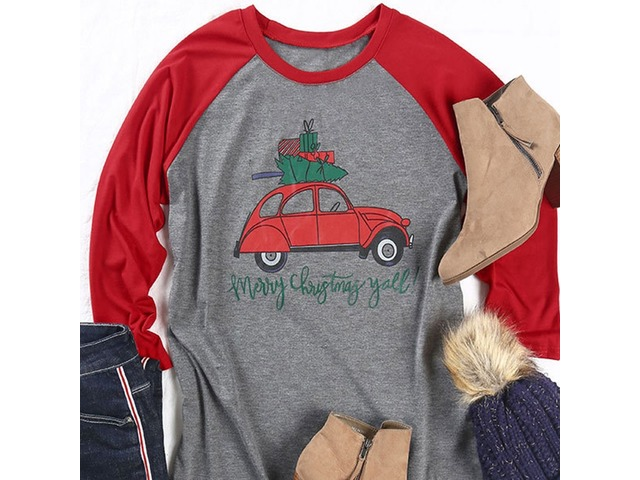 Merry Christmas Letter Y.Merrychristmasy Allletterprintgraphicprint3 4sleevecrewneckcolorblockcasualtopst Shir