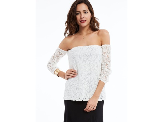 Stylish Floral Lace Slash Neck Blouse | free-classifieds-usa.com