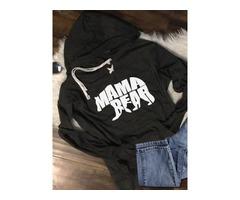 MAMA BEAR Letter Print T-shirt Long Sleeve Top