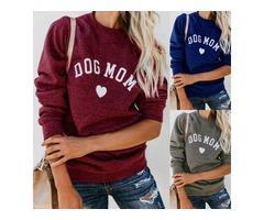 DOG MOM Letter Print Solid Color Tops Sweatshirt
